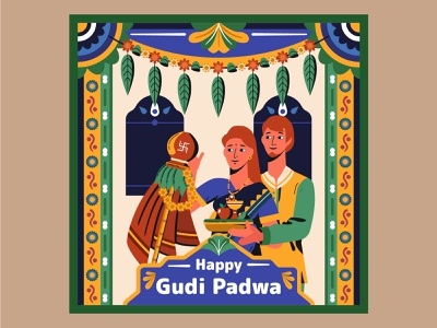 Gudi Padwa, Hindu Lunisolar New Year character vector illustration design motive india hinduism religion calendar year new new year lunisolar hindu padwa gudi