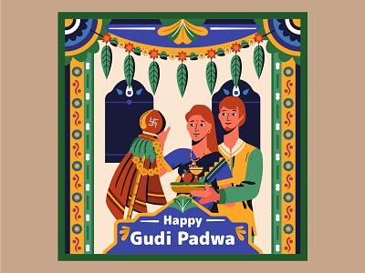 Gudi Padwa, Hindu Lunisolar New Year character vector illustration design motive india hinduism religion calendar year new new year lunisolar hindu padwa gudi