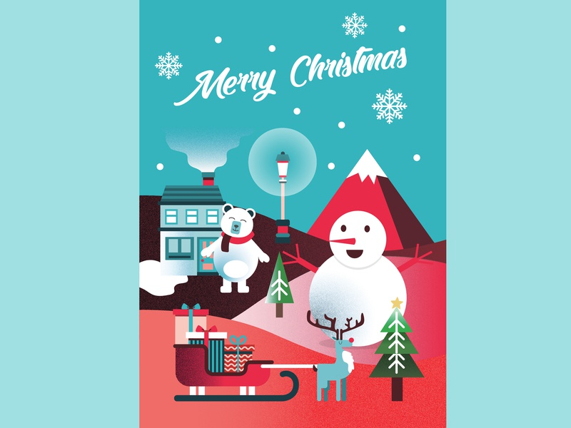 Christmas Card snow card christmas gradient education character cartoon people vector peoples illustration identity icon design branding