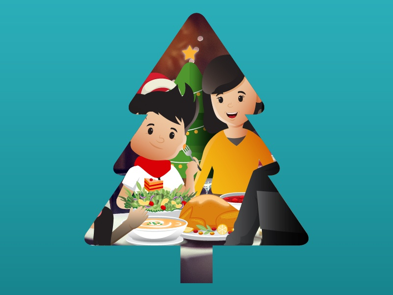 Christmas Dinner with Family color greeting motion animation graphic christmas tree christmas education character cartoon logo flat peoples vector illustration design branding
