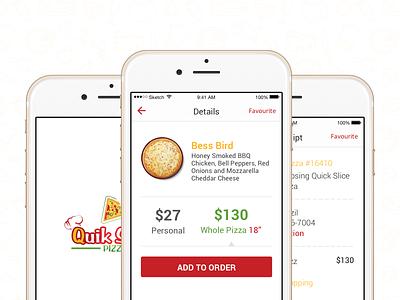 Quik Slice Pizza pizza food ios app sketch mobile app