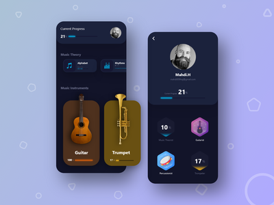 Music Tutorial App music app fast ui design user experience user interface adobe xd xd sketch ios application trends ux design ui design design ux trends ui trends ux ui