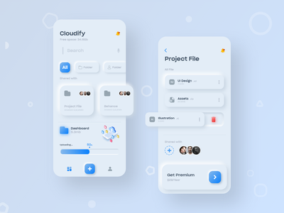 Cloudify Concept App branding neumorphic neumorphism learning user experience user interface education adobe xd xd wireframe ios mobile application trends ux design ui design