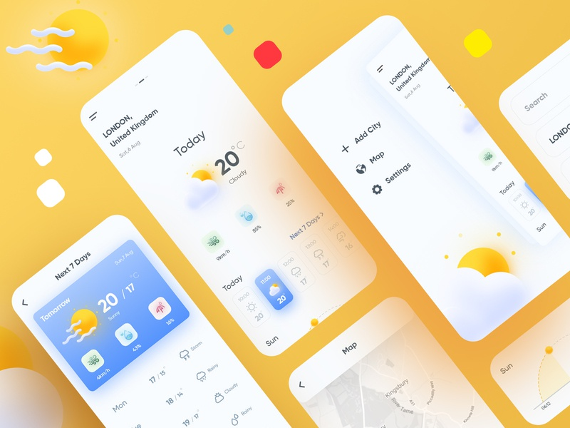 Weather App weather forecast weather app uidesign app design weather vector ux ui snowy rainy mobile linework illustration forecast flat studio fireart drawing application app