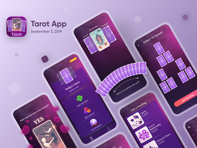 Tarot App app design mobile xd design xd sketch user interface uidesign ux ui kit ui design minimal branding xd uiuxdesigner sketch interface interaction featured behance application