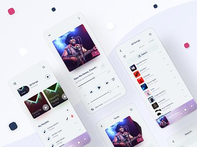 Music Player App designer app design animation user interface xd trends application song playlist ui kit artist music app ui uiux music player music mobile minimal design app