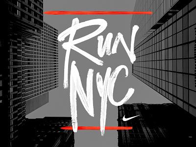 Run NYC typography race identity 2d mark logo graphic nyc sport running run nike