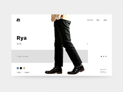 Rya Jean Product Page digital web design graphic product fashion jeans