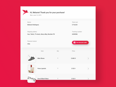 Daily UI 17/100 - Email Receipt