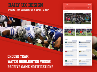 Daily UX Design - Sports App