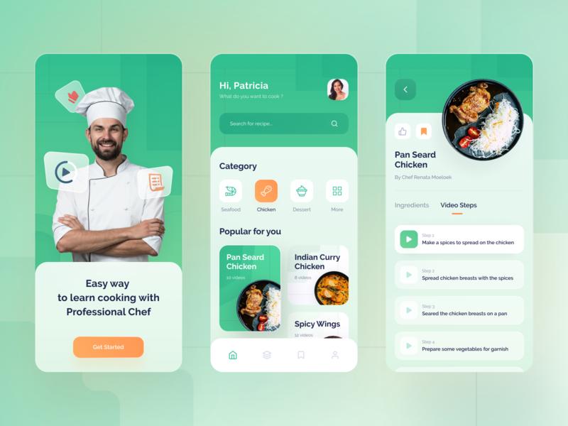 Recipes App recipe app tutorial chef green gradient blur recipe food ios app design ui ux clean