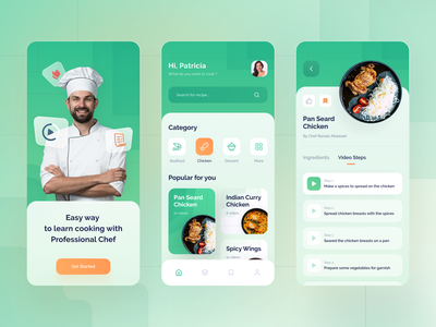 Recipes App recipe app tutorial chef green gradient blur recipe food ios app design ui ux clean