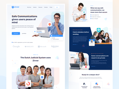 Zivver Landing Page Concept video database security system message mail landingpage data commercial web design website agency communication security secure design ux ui clean