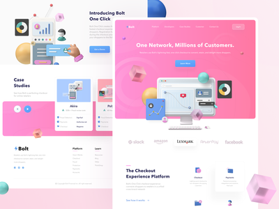 ⚡️Bolt Landing Page start up agency customers shopping shop 3d art web web design illustration website design clean ux ui