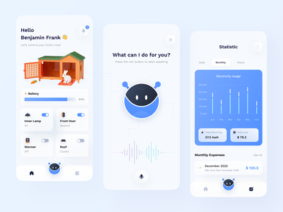 🐇Smart Hutch with AI Assistant smart smarthome control hutch rabbit blue modern iot artificial intelligence ai mobile app mobile apps app ios design clean ui ux