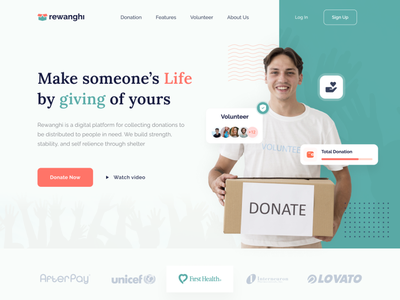 Rewanghi - Donation and Charity Website agency website insurance donate volunteer landing page web donation charity agency web design website ui clean ux