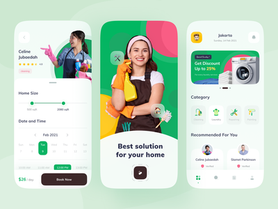 🏠Home Service App book solution cleaning service repairing laundry home service home services service agency mobile ios app design clean ui ux