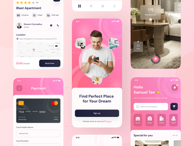 🏢Lesta - Real Estate UI KIT room booking building realestate rent home ar book room office apartment hotel real estate mobile apps ios app design ui clean ux