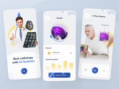 Radiology App with AI System ai artificial intelligence healthy scanner futuristic results x-ray xray scan bone radiology doctor health mobile ios app design ui clean ux