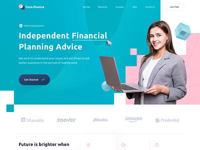 Feza Finance - Financial Agency Website financial services agency website planning startup finance financial landing page agency landing page agency branding web design website design ui clean ux