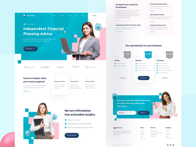 Feza Finance - Financial Agency Website financial services agency website planning startup finance financial landing page agency landing page agency branding web design website design ui clean ux