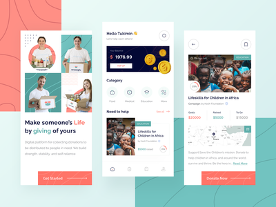 Rewanghi - Donation and Charity Apps onboarding volunteer donate platform charity help donation insurance mobile branding ios app design clean ux ui