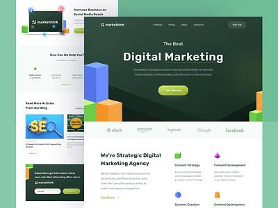 Digital Marketing Website business web design landing page content seo social media company services header promotion digital marketing startup agency marketing branding website design clean ux ui