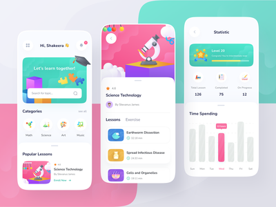 📚Learning Apps science level progress statistic school lesson exercise learning learning apps education quiz online learning mobile illustration ios ux app clean ui design