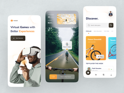 HUGGO - VR for Video Game product design downhill bicycle games 3d video game game map bike futuristic ar virtual reality vr mobile ios app design ui clean ux