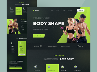Fitness Landing Page healthy health agency muscle exercise gym fitness sport landing page web design website design ui clean ux