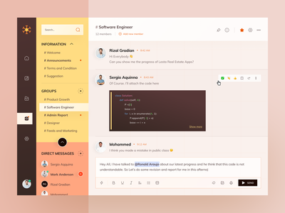 Project Management Dashboard - Discussion Section comment inbox code discussion message chat member management project dashboard web design website app design ui clean ux