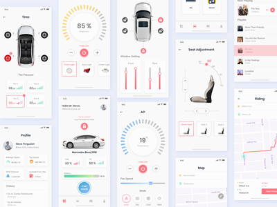 Car Control App apps app mobile ios clean ux ui tesla smart car remote control car