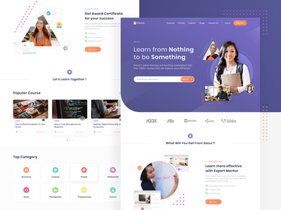 Online Course Website task video school education online course web design website web certificate study learning learn course design chart classes clean ux ui