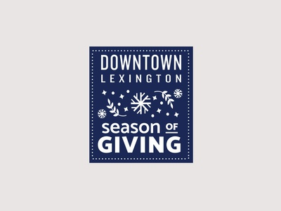 Downtown Lexington Holiday Badge WIP typography branding design snowflake lexington kentucky lockup vector illustration holidays retail shopping center christmas holiday badge