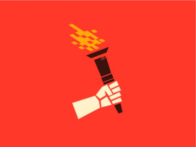 Digital Torch WIP propaganda pixel digital cubist hand red fire torch design vector illustration