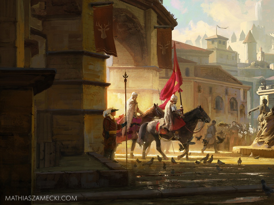 Citadel of the Lost Sun crop knights horse golden hour castle sunset painting illustration clouds background painted landscape