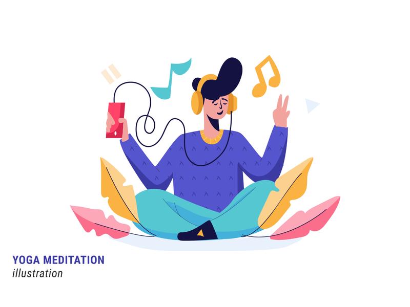 Yoga Meditation ux vector ui yoga pose meditation yoga flat illustration flatdesign illustration
