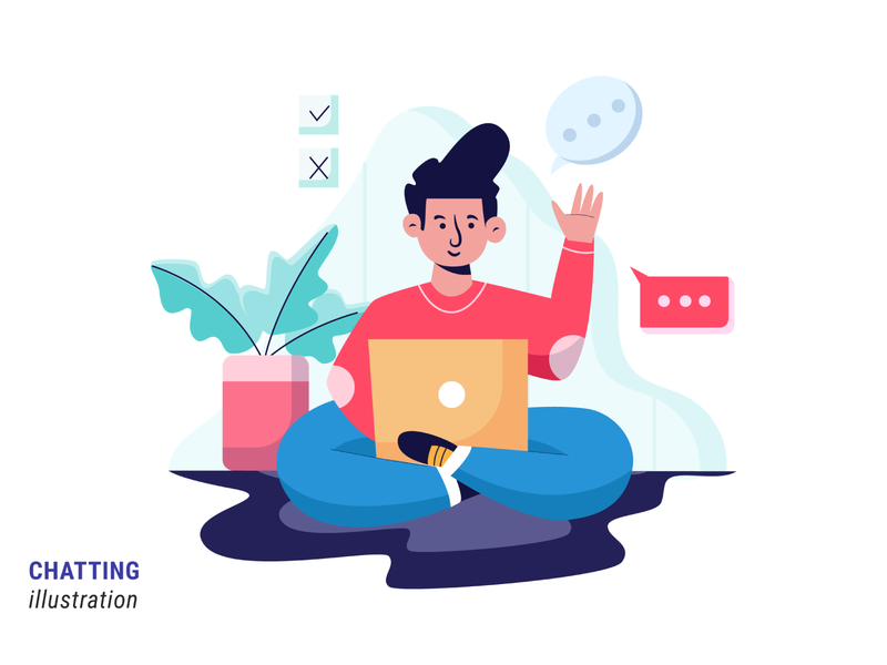 Chatting ui vector design flat illustration illustration character design
