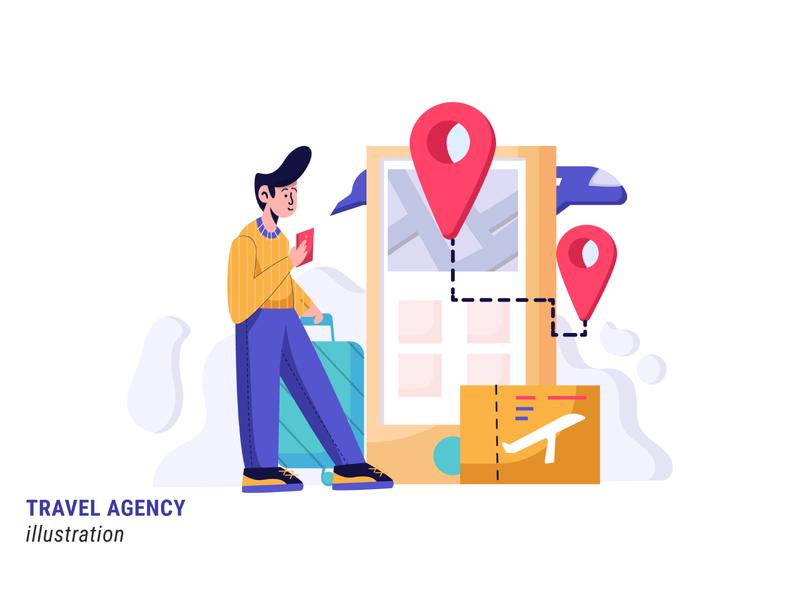 Travel Agency traveling travel agency agency travel illustration flat illustration design vector