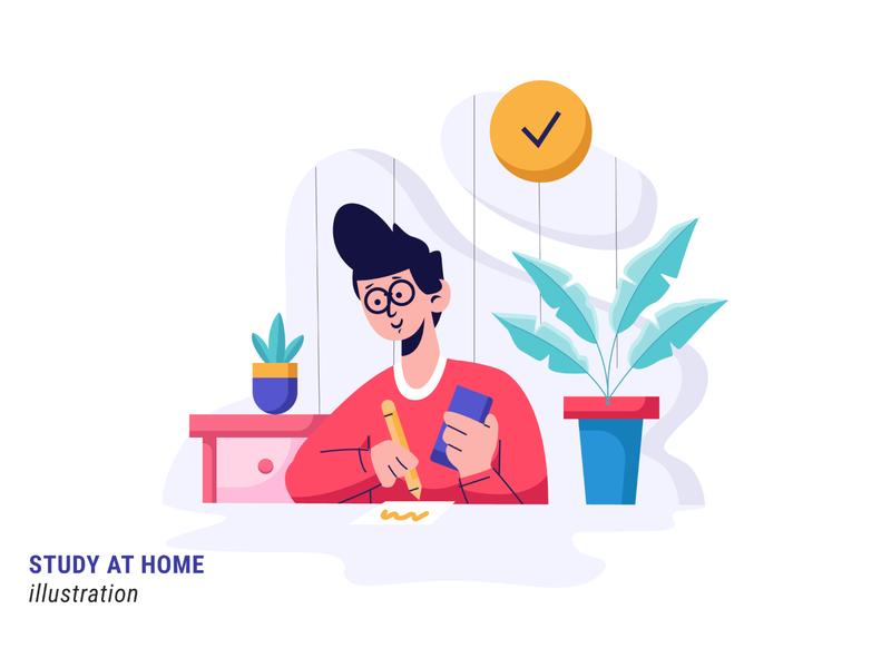 Study at Home study at home at home study illustrator branding illustration flat illustration design vector