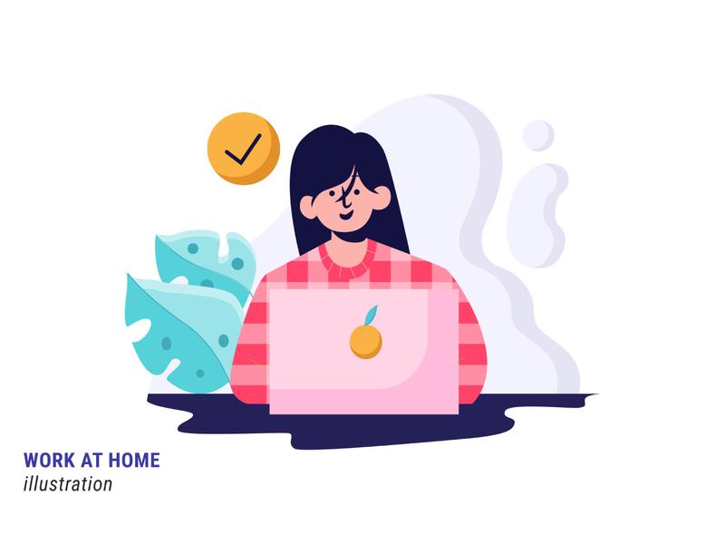 Work at Home work at home work mobile ui website mobile ux illustrator illustration flat illustration design vector
