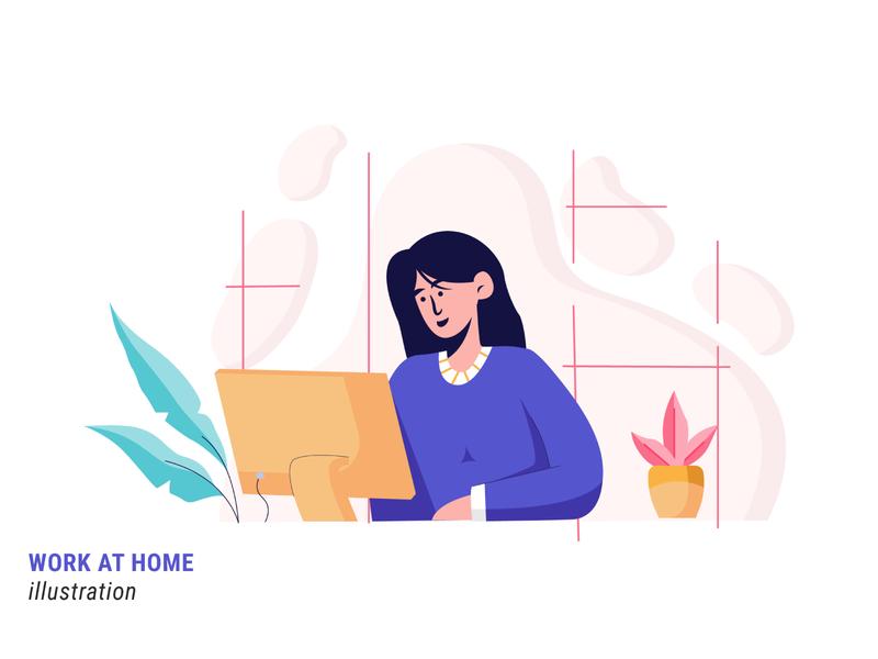 Work at Home website mobile work at home work ux ui illustration flat illustration design vector