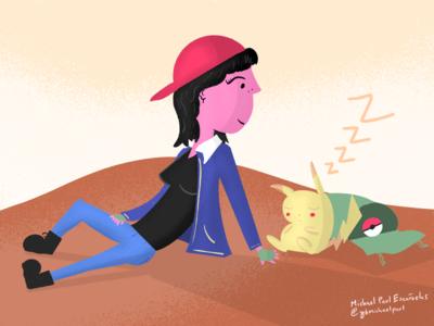 Inktober 2019 Day 13 - Ash pikachu nintendo digital art pokemon procreate illustration ash day 13 inktober