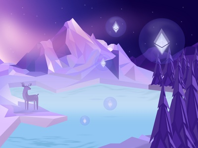 Crypto winter🌨 bubble winter mountain exchange ether cryptocurrency crypto clean ethereum bitcoin web ui design illustration