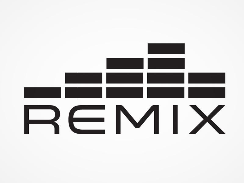 Remix logo concept branding one color simple clean black white