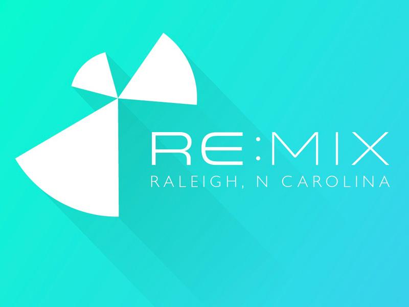Re:mix Raleigh remix logo long shadow white green blue neon gradient