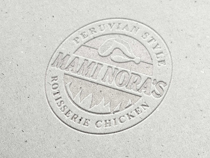 Mami Noras Logo restaurant logo identity branding pressed cotton embossed simple one color white paper texture