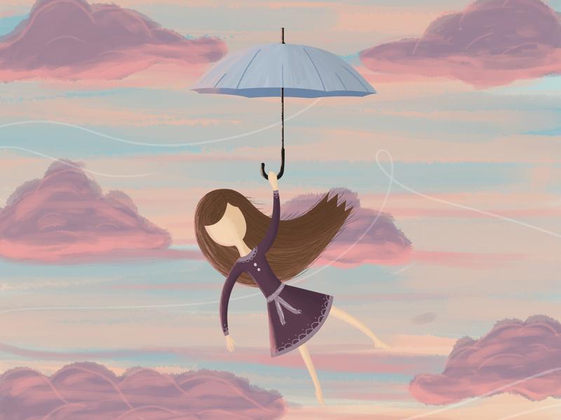Sunset girl sunset design art girl character creative vector illustration digital art