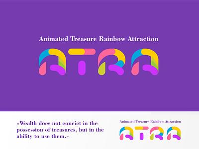 Animated Treasure Rainbow Attraction icon design illustration typography logo
