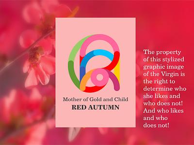 Red Autumn icon design illustration typography logo
